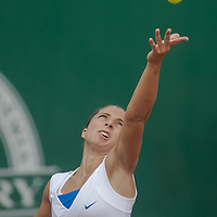 Sara Errani of Italy plays a winning final against Elena Vesnina of Russia (not pictured) during the WTA tour Budapest Grand Prix international women tennis competition held in Budapest, Hungary on May 5, 2012. ATTILA VOLGYI