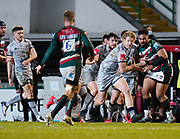Sale Sharks Rob Du Preez makes a break during a Gallagher Premiership Round 7 Rugby Union match, Friday, Jan. 29, 2021, in Leicester, United Kingdom. (Steve Flynn/Image of Sport)