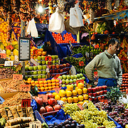 Fresh produce for sale at the Spice Bazaar (also known as the Egyption Bazaar) in Istanbul, Turkey.