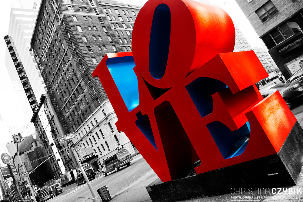 Color and Black and White Mix: Public Art Display of the famous LOVE Sculpture in Manhattan, New York
