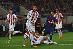 October 31, 2017 - Piraeus, Attica, Greece - Lionel Messi of Barcelona in action during the UEFA Champions League group D football match between FC Barcelona and Olympiakos FC at the Karaiskakis stadium in Piraeus near Athens on October 31, 2017. (Credit Image: © Wassilios Aswestopoulos/NurPhoto via ZUMA Press)