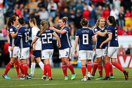Scotland players celebrate Scotland's second goal (2-1) scored by Erin Cuthbert (#22) of Scotland during the FIFA Women's World Cup UEFA Qualifier match between Scotland Women and Belarus Women at Falkirk Stadium, Falkirk, Scotland on 7 June 2018. Picture by Craig Doyle.