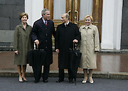 Moscow, Russia, 09/05/2005..Russian President Vladimir Putin and wife Ludmilla greet President of the USA George Bush and Lara Bush at the Kremlin before the parade in Red Sqaure marking the 60th anniversary of victory in the Great Patriotic War.