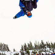 Canadian National Snowboard Team member Justin Lamoureux completes a training run in the half pipe during the 2009 LG Snowboard FIS World Cup at Cypress Mountain, British Columbia, on February 16th, 2009. Lamoureux finished 5th in the field of 62.
