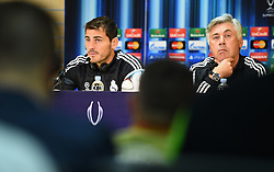 CARDIFF, WALES - Tuesday, August 12, 2014: Real Madrid Manager Carlo Ancelotti and goalkeeper Iker Casillas during a press conference ahead of the UEFA Super Cup at Cardiff City Stadium.  (Pic by Pool/Getty Images/Propaganda)