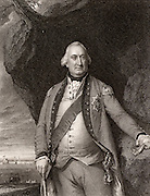 Charles Cornwallis (1738-1805) 1st Marquis Cornwallis.  English soldier and statesman. Commanded British forces in the  American War of Independence.  Governor General of India 1786-1793 and 1804-1805. Engraving after portrait by Copley.