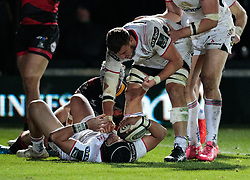 Ulster's Christian Lealiifano celebrates scoring his sides fifth try<br /> <br /> Photographer Simon King/Replay Images<br /> <br /> Guinness Pro14 Round 10 - Dragons v Ulster - Friday 1st December 2017 - Rodney Parade - Newport<br /> <br /> World Copyright © 2017 Replay Images. All rights reserved. info@replayimages.co.uk - www.replayimages.co.uk