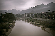 Cityscape along the river in Ha Giang city, Vietnam, Asia