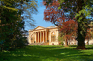 The neo-classic south front with Corinthian columns of the Duke of Buckingham's  Stowe House designed by Robert Adam in 1771. The landscape English garden was designed by Capability Brown.  Buckingham, England .<br /> <br /> Visit our EARLY MODERN ERA HISTORICAL PLACES PHOTO COLLECTIONS for more photos to buy as wall art prints https://funkystock.photoshelter.com/gallery-collection/Modern-Era-Historic-Places-Art-Artefact-Antiquities-Picture-Images-of/C00002pOjgcLacqI
