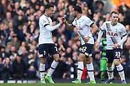 Nacer Chadli of Tottenham Hotspur (22) celebrates after scoring his sides 1st goal of the game to make at 1-1 with Dele Alli of Tottenham Hotspur (l). Barclays Premier league match, Tottenham Hotspur v Swansea city at White Hart Lane in London on Sunday 28th February 2016.<br /> pic by John Patrick Fletcher, Andrew Orchard sports photography.