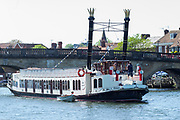 """Henley on Thames. United Kingdom. Vew of the paddle boat  """"New Orleans"""". moves, away from Henley Road Bridge and the """"mock""""  Steam,Stacks are raised, Thursday  17/05/2018<br /> <br /> [Mandatory Credit: Peter SPURRIER:Intersport Images]<br /> <br /> LEICA CAMERA AG  LEICA Q (Typ 116)  f5  1/1000sec  35mm  42.5MB"""