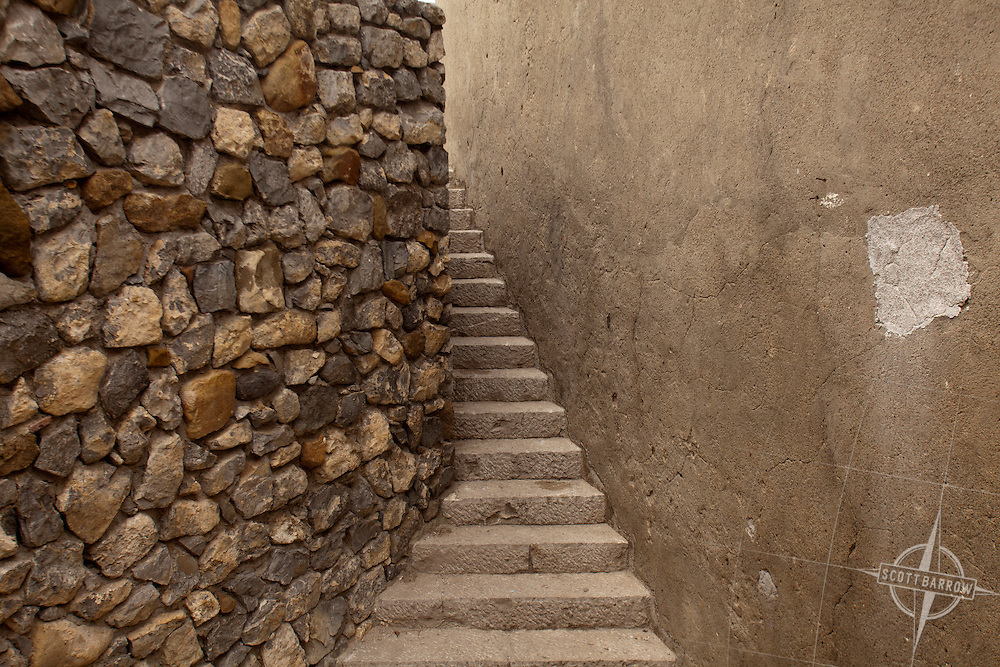 Cefalu, Italy on the island of Sicily. Stone stairway.