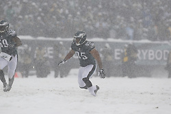 Philadelphia Eagles inside linebacker Mychal Kendricks #95 moves towards the ball carrier during the NFL game between the Detroit Lions and the Philadelphia Eagles on Sunday, December 8th 2013 in Philadelphia. (Photo by Brian Garfinkel)