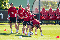 CARDIFF, WALES - Tuesday, September 7, 2021: Wales' Chris Gunter, Rhys Norrington-Davies, Jonathan Williams, captain Gareth Bale during a training session at the Vale Resort ahead of the FIFA World Cup Qatar 2022 Qualifying Group E match between Wales and Estonia. (Pic by David Rawcliffe/Propaganda)