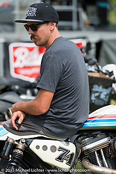 RSD's Cameron Brewer at the Rusty Butcher bike Show during the 75th Annual Sturgis Black Hills Motorcycle Rally.  SD, USA.  August 7, 2015.  Photography ©2015 Michael Lichter.