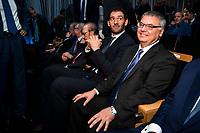 FEB president Jorge Garbajosa and ACB president Francisco Roca during the presentation of the new season of La Liga Endesa 2016-2017 in Madrid. September 20, 2016. (ALTERPHOTOS/Borja B.Hojas)