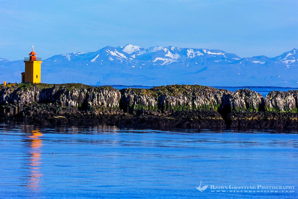 The Westfjords in northwestern Iceland. Flatey in Breidafjordur.