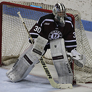 Colin Stevens, Union College goaltender, in action during the Yale Vs Union College, Men's College Ice Hockey game at Ingalls Rink, New Haven, Connecticut, USA. 28th February 2014. Photo Tim Clayton