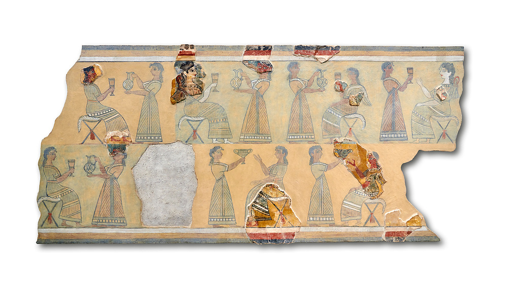 The Minoan ' Camp Stool' wall art fresco from the West vwing of Knossos Palace, 1450-1300 BC. Heraklion Archaeological Museum.  White Background. <br /> <br /> This Minoan fresco probably depicted a typical banquet at Knossos Palace held in the Upper Hall of the West Wing. Figures seated on 'camp stools' are raising cups and kylikes. A female figure with Mediterranean features wearing vivid make up named ' La Parisienne' by Arthur Evans, has a large 'sacred knot' bunched behind her head and maybe she was a priestess. .<br /> <br /> If you prefer to buy from our ALAMY PHOTO LIBRARY  Collection visit : https://www.alamy.com/portfolio/paul-williams-funkystock/minoan-art-artefacts.html . Type -   Heraklion   - into the LOWER SEARCH WITHIN GALLERY box. Refine search by adding background colour, place, museum etc<br /> <br /> Visit our MINOAN ART PHOTO COLLECTIONS for more photos to download  as wall art prints https://funkystock.photoshelter.com/gallery-collection/Ancient-Minoans-Art-Artefacts-Antiquities-Historic-Places-Pictures-Images-of/C0000ricT2SU_M9w