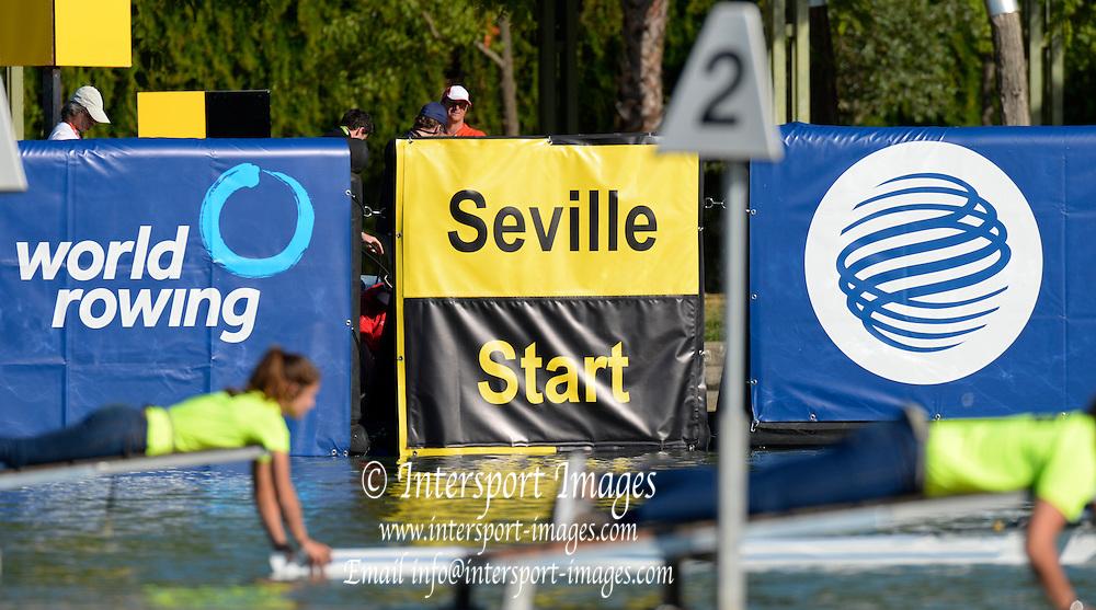Seville. Andalusia. SPAIN.   General View. start pontoon.  2013 FISA European Rowing Championship.  Guadalquivir River.  Friday  31/05/2013.  [Mandatory Credit. Peter Spurrier/Intersport]
