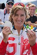 "Rio de Janeiro. BRAZIL.   GBR W2X Silver Medalist Katherine GRAINGER . 2016 Olympic Rowing Regatta. Lagoa Stadium,<br /> Copacabana,  ""Olympic Summer Games""<br /> Rodrigo de Freitas Lagoon, Lagoa.   Thursday  11/08/2016 <br /> <br /> [Mandatory Credit; Peter SPURRIER/Intersport Images]"