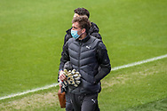 AFC Wimbledon goalkeeper Sam Walker (1) arriving for the game wearing face mask during the EFL Sky Bet League 1 match between AFC Wimbledon and Milton Keynes Dons at Plough Lane, London, United Kingdom on 30 January 2021.