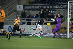 Alloa Athletic's keeper Andrew McNeil  saves from Falkirk's John Baird. <br /> Falkirk 5 v 0 Alloa Athletic, Scottish Championship game played at The Falkirk Stadium.