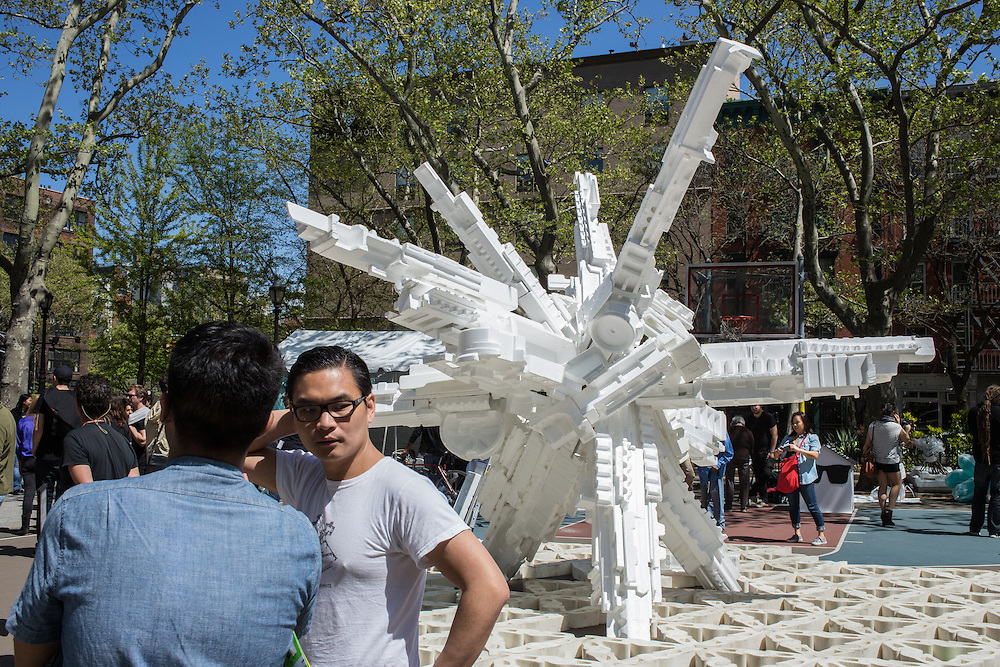 Terreform ONE is a tower made from styrofoam packaging from the neighborhood. A number of exhibits stressed recycling, re-using and repurposing materials.