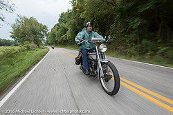 Rowdy Schenck of New Mexico riding his 1915 Harley-Davidson during the Motorcycle Cannonball Race of the Century. Stage-6 from Cape Girardeau, MO to Springfield, MO. USA. Thursday September 15, 2016. Photography ©2016 Michael Lichter.