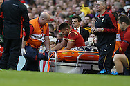 Rhys Webb of Wales reacts in pain as he is taken off the field with an ankle injury and could miss the rest of the Series. Under Armour 2016 series international rugby, Wales v Australia at the Principality Stadium in Cardiff , South Wales on Saturday 5th November 2016. pic by Andrew Orchard, Andrew Orchard sports photography
