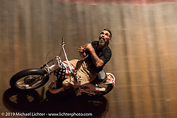 Charlie Ransom rides the American Motordrome Wall of Death on Saturday at the Handbuilt Motorcycle Show. Austin, TX. April 11, 2015.  Photography ©2015 Michael Lichter.
