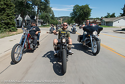 Chris Callen, Tabor Nash and Josh Owens on the Annual Cycle Source and Michael Lichter Rides (combined this year) left from the new Broken Spoke area of the Iron Horse Saloon during the Sturgis Black Hills Motorcycle Rally. SD, USA.  Wednesday, August 10, 2016.  Photography ©2016 Michael Lichter.