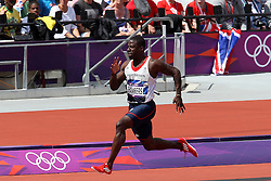 Dwain Chambers of Great Britain wins his heat during The Men's 100m heats held on day 2 of athletics held at the Olympic Stadium in Olympic Park in London as part of the London 2012 Olympics on the 3rd August 2012..Photo by Ron Gaunt/SPORTZPICS