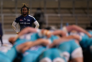 Sale Sharks wing Marland Yarde during the Gallagher Premiership match Sale Sharks -V- Worcester Warriors at The AJ Bell Stadium, Greater Manchester,England United Kingdom, Friday, January 08, 2021. (Steve Flynn/Image of Sport)