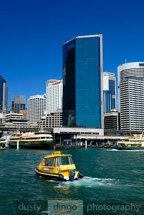 Water Taxi and Circular Quay skyline. Circular Quay, Sydney, Australia