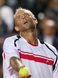 Thomas Muster of Austria plays against Borut Puc of Slovenia during day one of the ATP Challenger  BMW Ljubljana Open 2010, on September 21, 2010,  in TC Ljubljana Siska, Slovenia.  (Photo by Vid Ponikvar / Sportida)