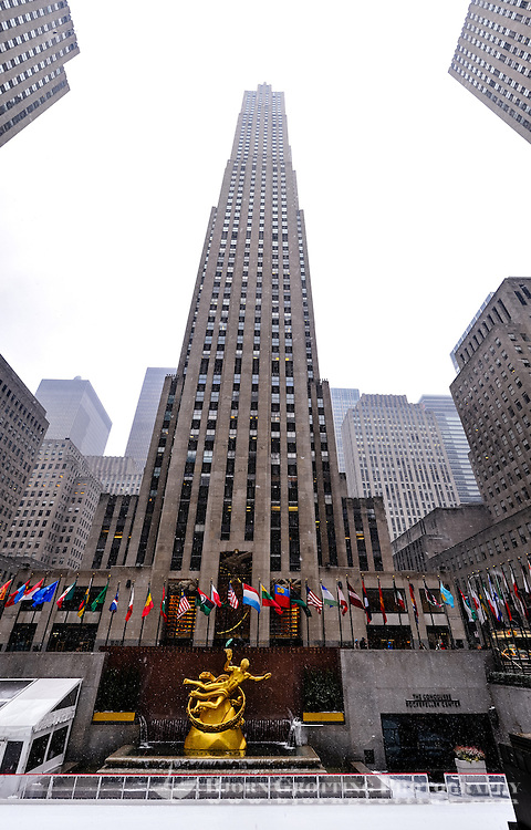 US, New York City. Rockefeller Center. The GE Building, or 30 Rock in snow weather. Stitched panorama.