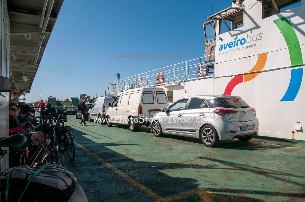 The cars and passengers ferry between Sao Jacinto and Barra in Ria de Aveiro, Portugal.