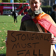 Parliament Square, London, UK. 2021-10-22. Protesters gather at the Millicent Fawcett statue on Parliament Square,London, calling for organisations to leave the Stonewall charity's Diversity Champions Scheme.