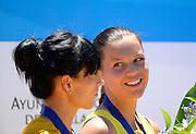 Seville. Andalusia. SPAIN. Women's Double Sculls, Gold Medalist, LTU W2X. Donata VISTARTTAITE and Milda VALCIUKAITE,  2013 FISA European Rowing Championship.  Guadalquivir River.  Sunday   02/06/2013  [Mandatory Credit. Peter Spurrier/Intersport]