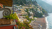 Colorful Buildings and beach in Positano, Italy