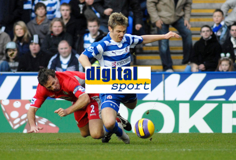 Photo: Gareth Davies.<br />Reading v Blackburn Rovers. The Barclays Premiership. 16/12/2006.<br />Blackburn captain Lucas Neill (L) brings down Reading's Kevin Doyle (R) in the penalty box but nothing is given.
