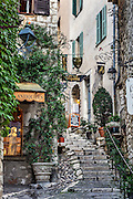 Rustic stone steps and shops in the medieval village of St Paul de Vence, Provence, France