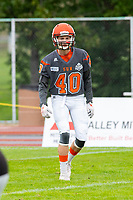 KELOWNA, BC - SEPTEMBER 22:  Liam Johnstone #40 of Okanagan Sun warms up against the Valley Huskers at the Apple Bowl on September 22, 2019 in Kelowna, Canada. (Photo by Marissa Baecker/Shoot the Breeze)