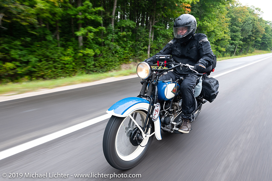 Brian Doerfler riding his 1935 Harley-Davidson VL in the Cross Country Chase motorcycle endurance run from Sault Sainte Marie, MI to Key West, FL. (for vintage bikes from 1930-1948). Stage 1 from Sault Sainte Marie to Ludington, MI USA. Friday, September 6, 2019. Photography ©2019 Michael Lichter.