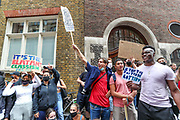 Students demonstrate outside the Department for Education, in Central London on Sunday, Aug 16, 2020. Students are reacting to the downgrading of A-Level results as a result of the Covid-19 pandemic. <br /> Thousands of pupils across England have expressed their disappointment at having their results downgraded after exams were cancelled due to coronavirus. A-levels results that were announced on 13 August. Some 40 per cent of students across England have received downgraded results. (VXP Photo/ Vudi Xhymshiti)