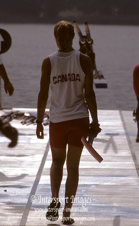 Barcelona, SPAIN.  CAN W2X,  stroke, Katherine HEDDLE  carries her oar/blade to the boating dock,   1992 Olympic Rowing Regatta Lake Banyoles, Catalonia [Mandatory Credit Peter Spurrier/ Intersport Images]