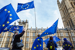 London, UK. 12th February, 2019. Anti-Brexit activists from SODEM (Stand of Defiance European Movement) protest outside Parliament.