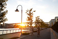 One of the many city pedestrian and bicycle only paths that connect all areas of the city of Vancouver, B.C.
