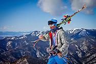 Skier hiking to Kachina Peak in Taos, NM.